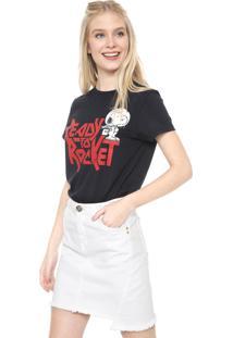 Camiseta Snoopy Ready To Rocket Preta