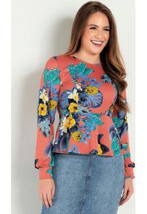 Blusa Peplum Floral Ferrugem Moda Evangálica