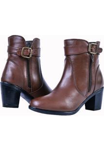 Bota Feminina Art Shoes Cano Curto Ankle Boot 243L Chocolate Marrom