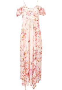 Twin-Set Vestido Longo Com Estampa De Borboleta - Rosa