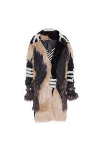 Casaco Feminino Trench Coat Mix Pelos - Bege