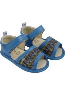 Sandália Catz Calçados Couro Lolla Hippie Feminina - Feminino-Azul