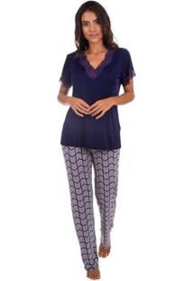 Pijama Feminino Longo Com Calça Estampada Inspirate - Feminino-Azul Escuro