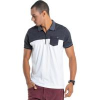 634d9fbd0b17c Camisa Pólo Branca Com Bolso masculina