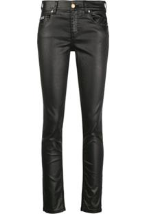 Versace Jeans Couture Faux Leather Skinny Jeans - Preto