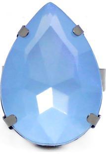 Anel Piuka Acessórios Belyn Gota Folheado Azul
