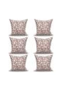 Conjunto De Capas Para Almofada Com 6 Peças Triângulo Tabaco E Cinza 60X60 Cm