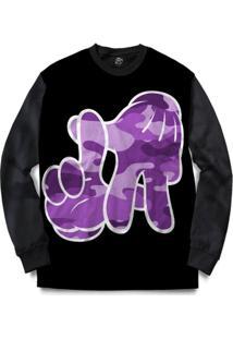 Blusa Bsc La Hand Purple Camo Full Print - Masculino
