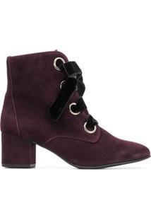 Hogl Ankle Boot De Camurça E Couro Com Cadarço - Rosa