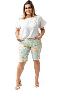 Bermuda Feminina Estampa Floral Com Lycra Plus Size Confidencial Extra Verde