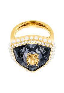 Anel Em Cristal Swarovski Banhada A Ouro- Dourado & Pretswarovski