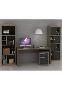 Conjunto Home Office Com 1 Escrivaninha 1 Gaveteiro 2 Estantes Para Livros Office Espresso Móveis Avelã Tx/Ônix Tx