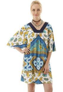 Vestido Aha Ampla Recorte Na Pala Lisa Feminina - Feminino
