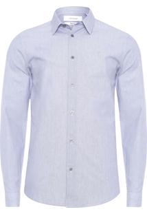 Camisa Masculina Regular Micro Listras - Azul