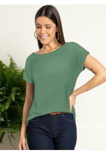 Blusa Com Mangas Curtas Verde