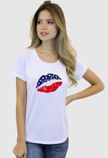 Camiseta Suffix Blusa Estampa Boca Usa Estados Unidos Basica Gola Redonda Feminina - Feminino-Branco