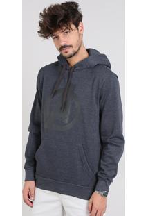 Blusão Masculino Os Vingadores Com Capuz E Bolso Em Moletom Cinza Mescla Escuro