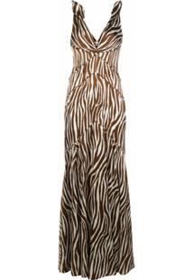 Dvf Diane Von Furstenberg Vestido De Festa Scarlette Com Estampa De Zebra - Branco