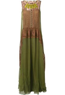 Alberta Ferretti Vestido Com Aplicações Na Gola - Verde