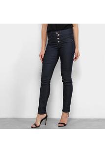 Calça Jeans Chocomenta Skinny Botões Cintura Média Feminina - Feminino-Azul