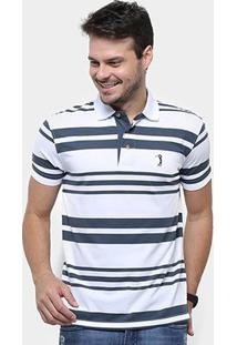 Camisa Polo Aleatory Fio Tinto Listrada Masculina - Masculino-Cinza+Branco
