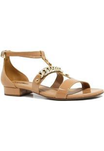 Sandália Zariff Shoes Rasteira Metais Fivela - Feminino-Marrom