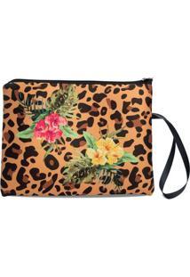 Necessaire Porta Biquíni Em Neoprene Tritengo - Animal Floral Zíper Preto - Feminino-Caramelo+Preto
