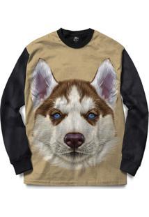Blusa Bsc Husky Puppy Dog Full Print - Masculino-Preto