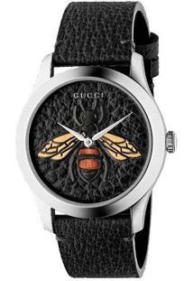 b9ec85f795f Relógio Preto Feminino Gucci Couro De Grife - Ya1264067