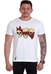Camiseta Lucas Lunny T Shirt Gola Redonda Caveiras Branca
