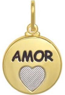 Pingente Prata Mil Redondo Amor E Coração Reticulado Resina E Ródio Dourado