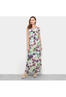 Vestido Pérola Longo Floral - Feminino-Bege