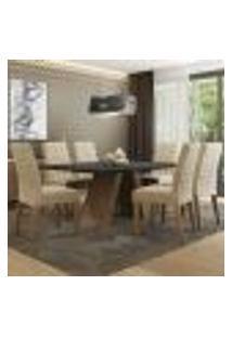 Conjunto Sala De Jantar Madesa Giovana Mesa Tampo De Madeira Com 6 Cadeiras
