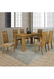 Conjunto De Mesa De Jantar Com 6 Cadeiras Ouro Preto Suede Ypê E Bege