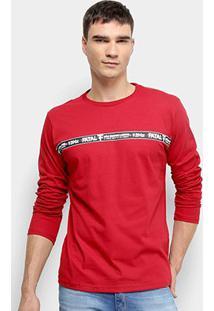 Camiseta Fatal Estampada Manga Longa Masculina - Masculino-Vermelho