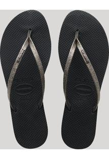 Chinelo Feminino Havaianas You Shine Metalizado Preto