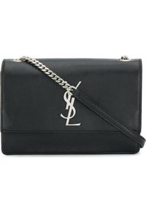 Saint Laurent Bolsa Transversal Kate Monogram - Preto