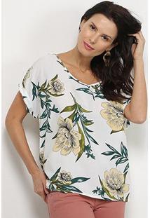 Blusa Pérola Floral Gola V Ampla Feminina - Feminino-Branco+Verde