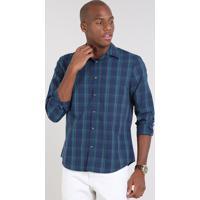 43b17ad1c4 Camisa Masculina Comfort Estampada Xadrez Manga Longa Azul Marinho