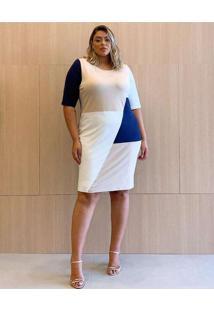 Vestido Almaria Plus Size Garage Curto Tricolor Mu