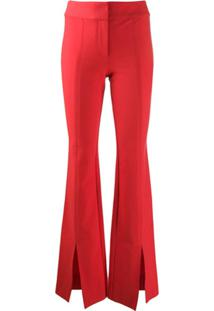 Derek Lam 10 Crosby Maeve Slit Hem Crosby Cotton Twill Flare Trousers - Vermelho