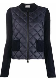 Moncler Quilted Contrast-Sleeve Jacket - Azul