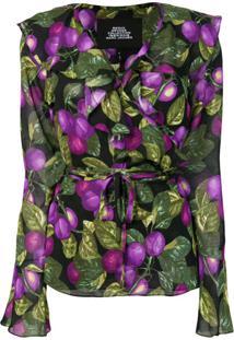 Marc Jacobs Floral Long-Sleeve Blouse - Preto