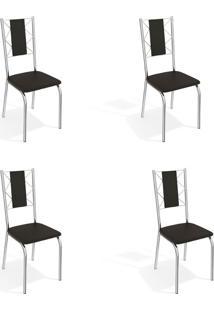 Conjunto Com 4 Cadeiras De Cozinha Lisboa Cromado E Preto