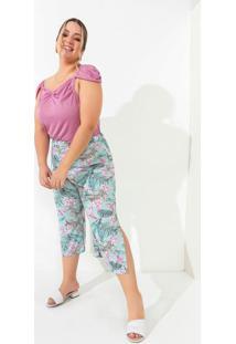 Calça Floral Pantacourt Com Fendas Plus Size