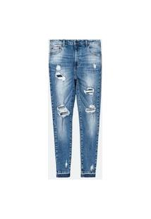Calça Push Up Jeans Lisa Com Puídos E Bainha Desfeita   Blue Steel   Azul   36