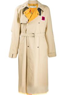 Off-White Trench Coat Com Lapelas Contrastantes - Neutro