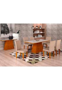 Conjunto De Mesa De Jantar Luna Com Vidro E 6 Cadeiras Ane I Veludo Imbuia E Branco