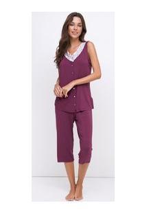 Pijama Com Detalhe Em Renda