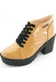 Bota Quality Shoes Tratorada Verniz Feminina - Feminino-Bege